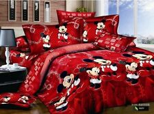 Mickey Minnie Mouse RED Bedding Set DISNEY Love cotton duvet cover comforter 5pc