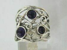 New SHABLOOL Ring Purpe Amethyst Three-Stone 925 Sterling Silver Jewelry
