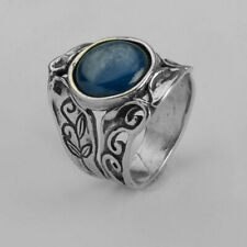 New SHABLOOL Ring Three-Stone Blue Kyanite 925 Sterling Silver Jewelry