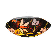 European Dragonfly Pattern Ceiling Light Stained Glass Hanging Pendant Lamp C288