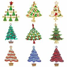 Fashion Crystal Xmas Christmas Tree Brooch Pin Broach Women Party Jewelry Gift