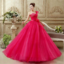 Sweetheart Beaded Organza Wedding Dress Party Evening Dress Ball Gown Red/Pink