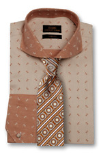 Dress Shirt by Steven Land Spread Collar Angled French Cuff -Brown-TW1714-BR