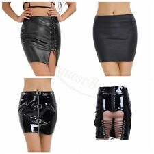 Women Sexy Bodycon Zippered Tight Short Faux Leather Straight Mini Skirt Dress