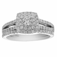 1 CT Diamond Prong Set Wedding Engagement Ring Set 14K White Gold