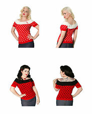 NEW 1950s Polka Dot Rockabilly Top, High Quality, 50s Style Top, XS-S, STUNNING