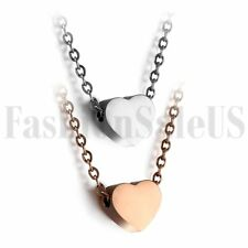 Fashion Women Rose Gold Silver Tone Heart Bib Statement Chain Pendant Necklace