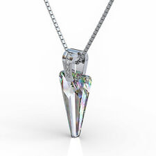 Crystal Pendant Necklace Multi Color Triangle Design with Chain