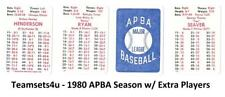 1980 APBA w/ Extra Players Season Baseball Team Sets ** Pick Your Team Set **