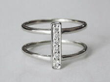 Sovats925 Sterling Silver Double Bands Layers CZ Rings Adjustable Ring Size 5-12