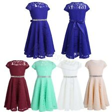 Kid Baby Pageant Wedding Occasion Party Prom Lace Flower Girl Dress Gown 4-14