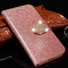 Bling Diamond Flip Stand Wallet Card PU Leather Case Cover For iPhone Samsung  T