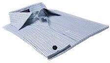 Labiyeur Men's Slim Fit French Cuff Checkered Dress Shirt Plaid Green/Black