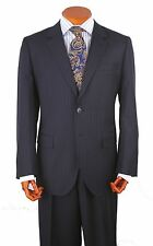 Mens Suit 2 Button 2 Side Vent 100% Wool  Pant,Flat Front. Col. Navy Striped 211