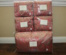 Pottery Barn Scarlett Paisley Whole Cloth Quilt  & 4  Shams Full/QUEEN