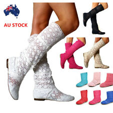 AU 20/30cm Long Womens Hollow Fashion Boots Ladies Summer Casual Mid-Calf Shoes