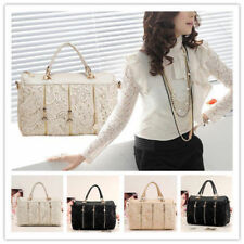Fashion Korean Women PU Leather Messenger Bag Tote Shoulder Lace Handbag 2 0709
