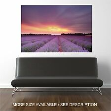 Wall Art Canvas Print Picture Flowers Lavender Field Sunset-Unframed