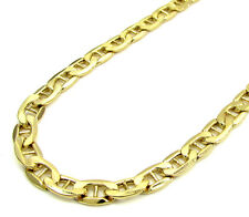 "Mens Womens 4MM SOLID 10K Yellow Gold Mariner Link Chain Bracelet 18""-24"" Inches"
