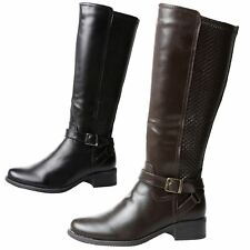 Lavina Womens Flat Low Heel Zip Up Mid Calf Riding Boots Ladies Shoes Style Size