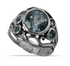 New SHABLOOL Handmade Ring Blue Topaz Solitaire 925 Sterling Silver Lady