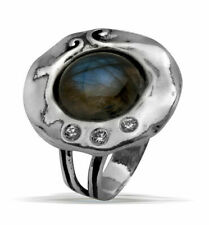 New SHABLOOL Ring 925 Sterling Silver Labradorite Blue/Green Jewelry