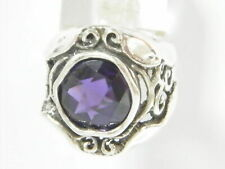 New SHABLOOL Handmade Ring Purple Amethyst Solitaire 925 Sterling Silver