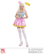 Womens Sweet Candy Clown Fancy Dress Pink Blue Sexy Costume and Hat