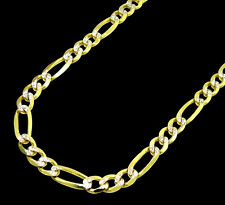 10K Mens Womens Yellow Gold Figaro Style Diamond Cut Necklace Chain 3.5MM