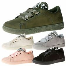 Jewel Womens Flats Low Heels Lace Up Ribbon Trainers Ladies Pumps Shoes Size New