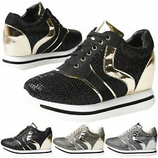 Alessia Womens Hidden Wedge Heel Trainers High Top Ladies Ankle Boots Shoes Size