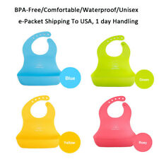 Waterproof Silicone Kids Baby Washable Roll Up Crumb Catcher Feeding Lunch Bibs