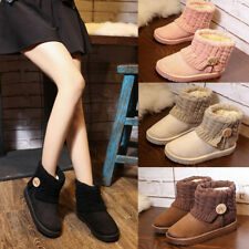 Womens Ladies Suede Fur Lined Winter Warm Boots Flat Snow Ankle Boots Shoes
