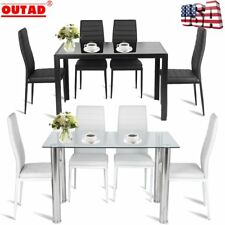 Set of 4 Elegant Design Leather Contemporary Dining Chairs Home Room Metal Stool