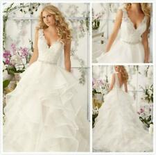 New White Ivory Appliques V-neck Tiered Wedding Dress 2 4 6 8 10 12 14 16 18 N53