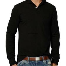 Men Casual Polo Neck Long Sleeve Plain Loose Polo T-Shirt Blouse Tops WN