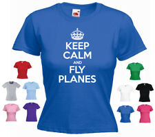 'Keep Calm and Fly Planes' Aeroplane Airplane RC Pilot Ladies Funny t-shirt
