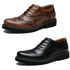 Retro British Brogue Carved Lace Up Mens Dress Formal Leather Lace Up Shoes New