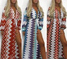 Womens Long party dress hollow out Wavy slim long balloon sleeve beach Dresses