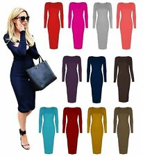 Ladies Long Sleeve Midi Dress Stretch Bodycon Plain Jersey Maxi Dress Plus Size
