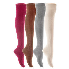 Lian LifeStyle Big Girls' 4 Pairs Over Knee High Thigh High Cotton Boot Socks JM
