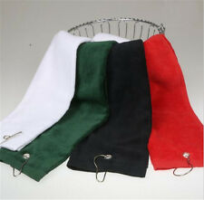 60x40cm Tri-Fold Outdoor Hiking Cotton Golf Sport Bag Towel With Carabiner Clip