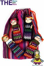 New Worry Dolls in handwoven pouch with 4 girl dolls