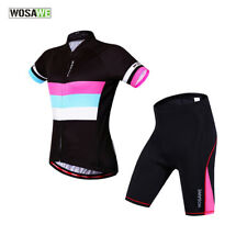 Women Breathable Cycling Short Sleeve Jersey Shorts Set+Cooling Pad Bike Bicycle