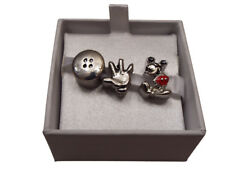 Genuine Disney Minnie or Mickey Mouse set of 3 Charms for bracelet or Necklace