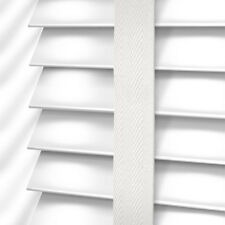 MADE TO MEASURE WHITE WOODEN 35mm VENETIAN BLIND WITH TAPES REAL WOOD