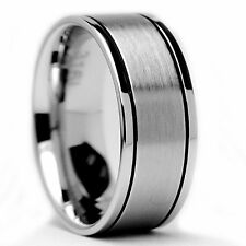 8MM Flat Top Stainless Steel Ring Matte Finish / High Polish Thin Grooves