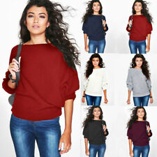 Womens Knitted Sweater Jumper Long Sleeve Pullover Tops Ladies Plus Size Blouse