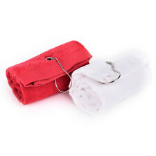 1pc 60x40cm Tri-Fold Hiking Cotton Golf Sport Bag Towel With Carabiner Clip@