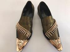 Men's Fiesso Gold Fashion Entertainer Pointed Gold Metal Tip Shoes FI 7092